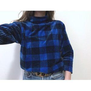 VTG🌵80's velour mock neck houndstooth sweater